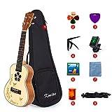Kmise - Ukelele de concierto para principiantes y niños con tapa de abeto de caoba...