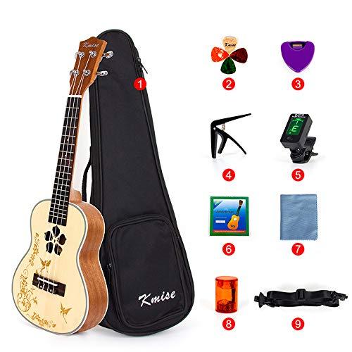 Kmise Concert Ukulele Starter Kit per Principiante Kid Abete Top Mogano Ukelele Uke Hawaii Chitarra con Fiore Soundhole