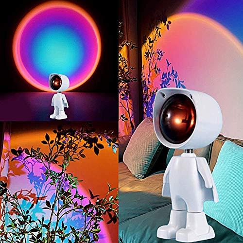 JAKROO Robot Projection Led Light, Modern Romantic Visual Mood Lighting Lamp, 360 Degree Rotation, Carga USB, para la Sala de Estar, Dormitorio, Proyector Romántico