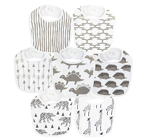 Waterproof Terry Cloth Baby Bibs with Snaps for Newborn Girl boy, Drool and Teething for Baby (Multi2 for 7 Pack)