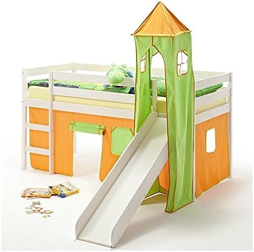 IDIMEX Rutschbett Hochbett Spielbett Bett Benny Kiefer massiv Weißs mit Turm+Vorhang Grün Orange 90 x 200 cm (B x L) mit Rutsche