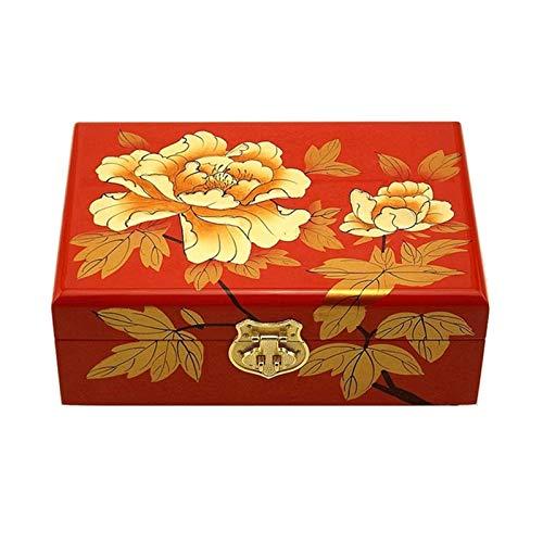 WNN URG - Caja de joyería vintage rectangular decorativa para mujer, ideal para pendientes, collares, anillos y pulseras URG (color: B)