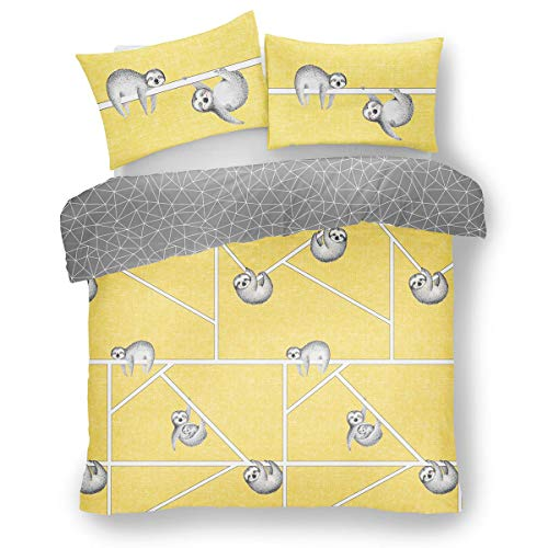 FAIRWAYUK Ochre Bedding Set, Cute Sloth Print Duvet Quilt Cover Single with Pillowcase, 2 Pcs, Reversible, Ultra Soft, Easy Care