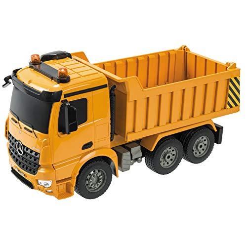 Mondo Motors - Mercedes Arocs Dump Truck in scala 1:20 - Camion RC Mezzo da lavoro - autocarro con cassone ribaltabile - controller 2.4 GHz - colore giallo - 63510