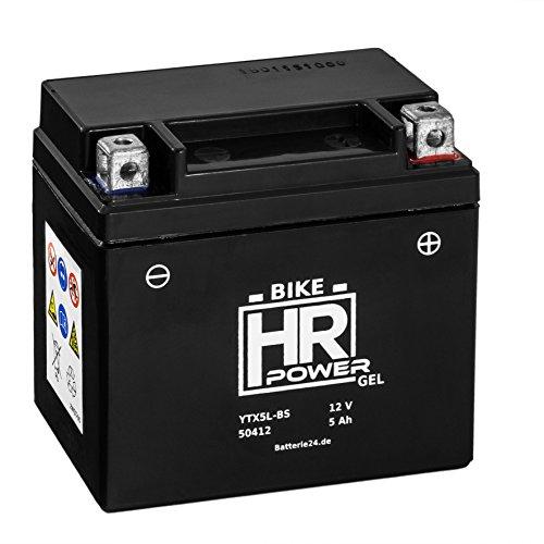 Gel Motorrad Batterie Starterbatterie 12V 5Ah YTX5L-BS 50412 wartungsfrei