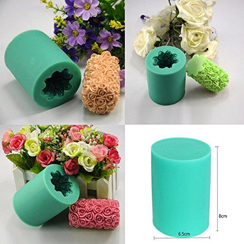 Bluelover Rose Fleur Bougie Moule En Silicone Savon Moule Cylindre De Mariage Diy Cuisson Moules