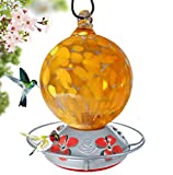 Grateful Gnome - Hummingbird Feeder - Hand Blown Glass - Orange Globe 24 Fluid Ounce Accessories Include S-Hook, Ant Moat, Brush and Hemp Rope Included