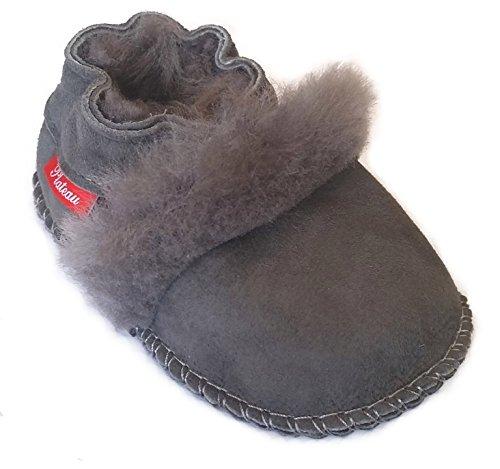 Plateau Tibet - ECHT LAMMFELL Baby Schuhe Krabbelschuhe Puschen - Fur - Grau, Gr. 24-25