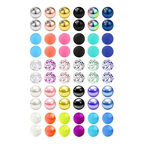 14G 60 Piezas Mix Color bola de reemplazo Acero inoxidable & Claro Acrílico Barra para Industrial Piercing/Pezon/Lengua