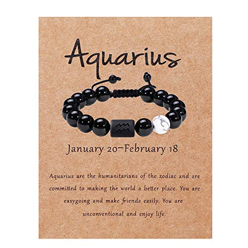 Zodiac Bracelet for Couple 8mm 10mm Natural Black Onyx Stone Star Sign Constellation Distance Friendship Prayer Blessing Bracelet Gifts Men Women Size adjustable (Men 10mm beads,Aquarius)