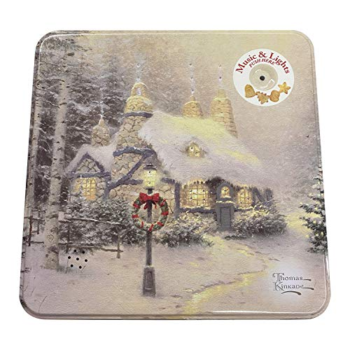 Thomas Kinkade Holiday Light Up and Musical Sugar Cookie 'Stonehearth Hutch' Christmas Tin Painter of Light Gift Box