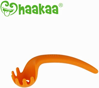 haakaa Silicone Noodle Spoon-BPA PVC Free Unique Design for Easily Hold (Orange)