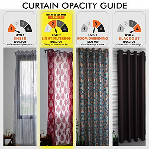 Home Sizzler Abstract 4 Piece Eyelet Polyester Door Curtain Set - 7ft, Brown