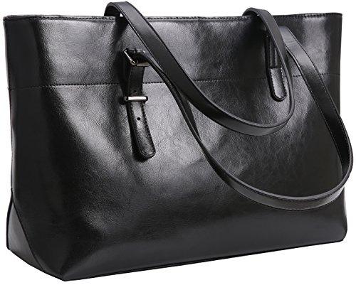 Iswee Top Handle Satchel Handbags Shoulder Bags Tote Purse for women Hobo Bag (Horizontal Version-Black)