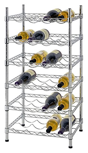 "Muscle Rack WBS181435 24-Bottle Chrome Wine Rack, 18"" by 14"" by 35"", 35"" Height, 18"" Width, 660 lb. Load Capacity"