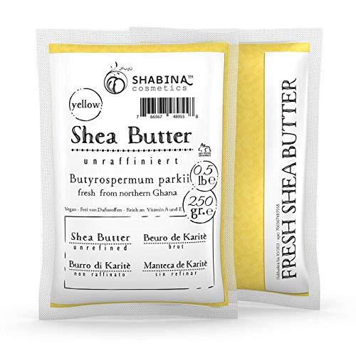 shabina le beurre de karité non raffiné Yellow Pure Premium 100% pur beurre de karité 250 g, 0,5 lb – 407