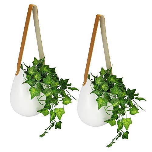 Jardineras colgantes de pared - Juego de 2 | Juego de macetas de cerámica blanca | Grandes macetas de interior al aire libre | Florero de plantas suculentas | Decoración de la pared | M&W