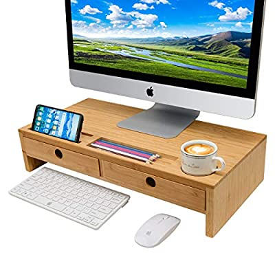 Monitor Stand Computer Desk Organizer ¨C Assembled Wood Screen Laptop Printer Riser with Drawers 22.05L 10.60W 4.70H Inch