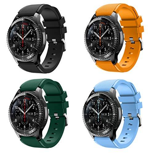 KOMI Correa de reloj compatible con Samsung Gear S3 Frontier/Classic, 22 mm de liberación rápida silicona Fitness Sports correas de repuesto (juego B (4 piezas)