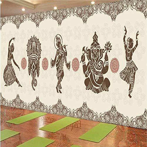 4D Tapeten Wandbilder,Kreative Im Indischen Stil Tanzen Frau Kunstdruck Größe Fototapete Poster Für Home Wohnzimmer Sofa Tv Hintergrund Schlafzimmer Wand Dekor, 120 X 200, 300 Cm (H) X 500 Cm (W)