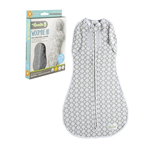 Woombie Convertible Nursery Swaddling Blanket - Swaddle Converts to Wearable Blanket for Babies Up to 6 Months - Vented (MOD Circles, 14-19 lbs)