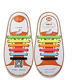 WELKOO® Cordones elásticos de silicona sin nudo impermeables para calzado de niños -12 pza,Talla NIÑO multicolor