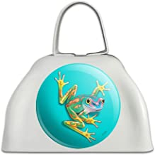 Big Tropical Rainbow Rainforest Tree Frog White Metal Cowbell Cow Bell Instrument