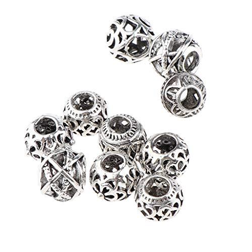 yotijar 10 Piezas Dreadlocks Cuentas de Metal Cuentas de Aluminio Trenzas de Metal - Plata