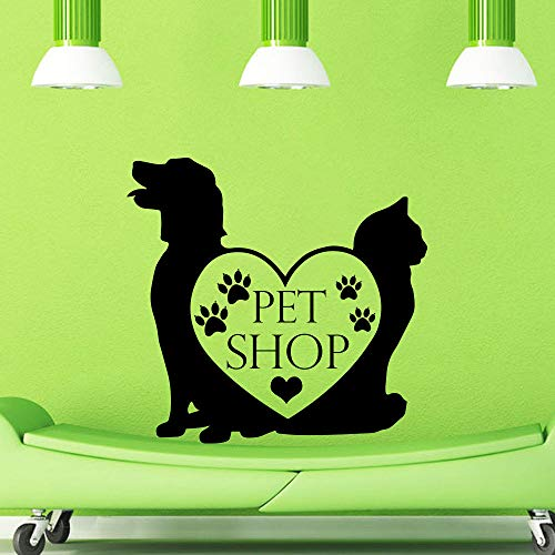 yiyiyaya Pet Shop Vinyl Wandtattoo Pet Shop Zeichen Hund Katze Wand Kunst Wandaufkleber Pet Salon Grooming Salon Fenster Dekoration 58X58 cm