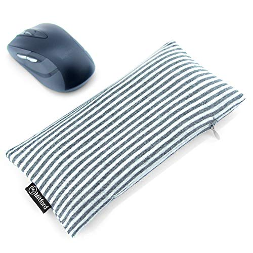 Bean Bag Wrist Rest for Carpal Tunnel - Ergonomic Beads Wrist Rest Pad - Mouse Wrist Cushion Computer Accessories for Carpal Tunnel Support and Arthritis Pain Relief (White Grey - Cotton)