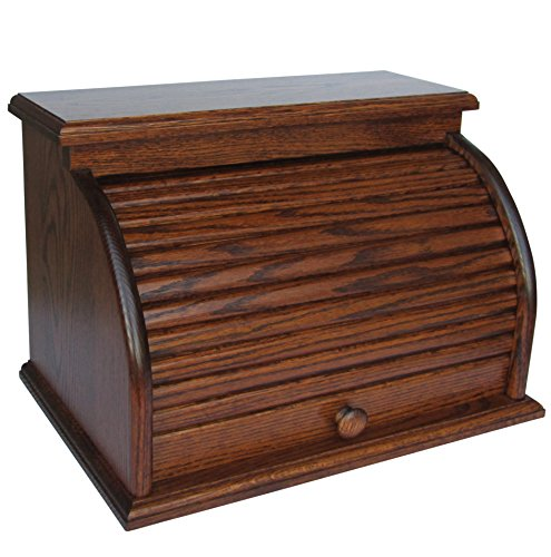 Buy Bargain Amish Valley Products Roll Top Bread Box Amish Handcrafted Storage Oak Bin Wooden (Sorre...