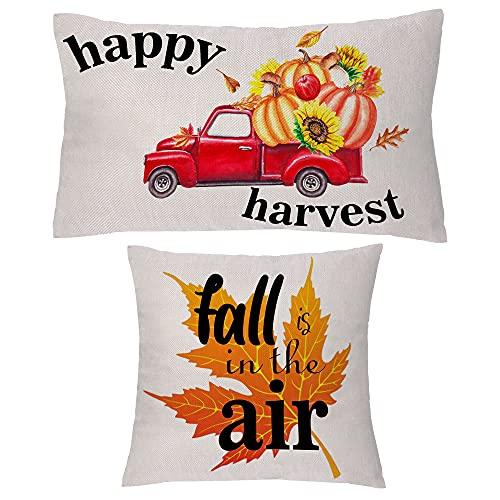 aligarian Juego de 2 fundas de cojín de otoño, fundas de almohada Happy Harvest Farm, hojas de arce de calabaza, fundas de almohada de lino, todo lo que se pone mejor con especias de calabaza (tipo 4)