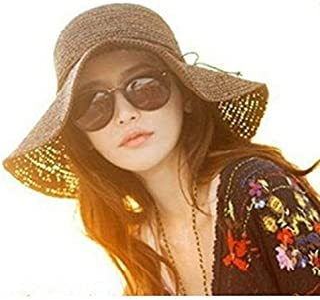 کلاهبرداری دخترانه Luzen Bohemia Wide Brim Roll-up قلاب بافی با توت نی کلاه ساحلی برای سفر در تعطیلات
