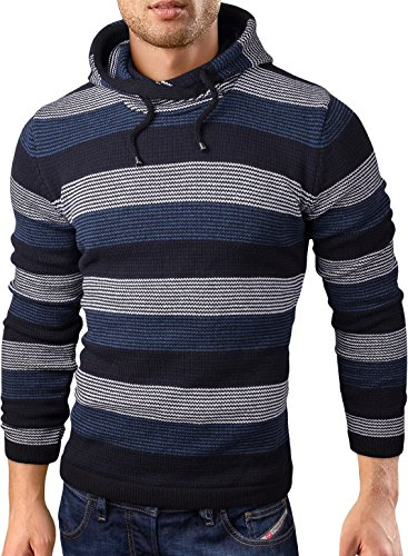 Grin&Bear Coup Slim Sweat Shirt tricoté Veste Homme Pull, Bleu rayé, XL, GEC347