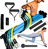 Muévelo Portable Pilates Bar Kit with Resistance Band Pairs of: 10,20,30 LBS  Home Workout Equipment for Women and Men  Exercise Stick for Squats, hipline, Toning and Full Body Workouts   Home Gym