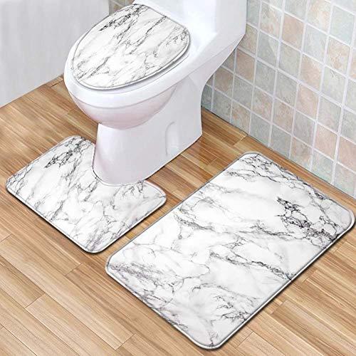 ETOPARS Marmor Textur Badteppich Set 3 Stück rutschfeste Badematten, Toilettendeckelabdeckung, U-förmiger Kontur Teppich Teppich Weiches Badezimmerzubehör, Typ 08
