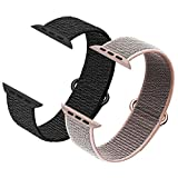 Ycysh 2 Pack Compatible with Apple Watch Band 38mm 40mm,Replacement Bands for iWatch Series 5/4/3/2/1 (Black, Pink Sand)