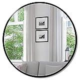SDKOA Wall Circle Mirror Mountable 16 Inches Black Metal Framed Round for Bathroom, Modern Farmhouse, Entryway, Living Room