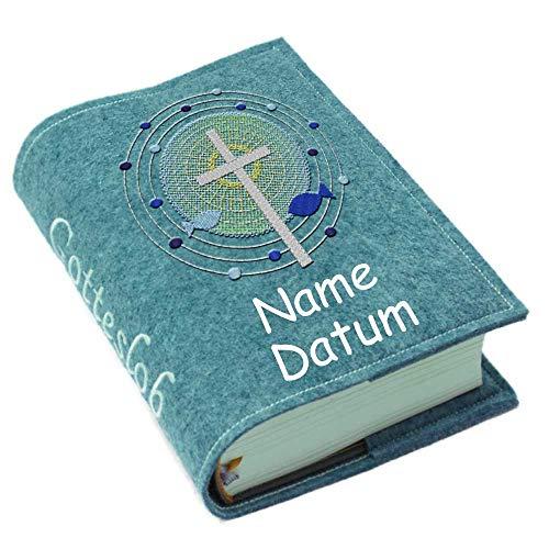 Gotteslob Gotteslobhülle Hülle Kreuz Fische Punkte blau Filz Namen bestickt Einband Umschlag personalisierte Gesangbuchhülle, Farbe:petrol meliert