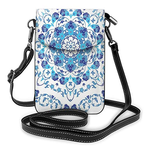 Women Mini Purse Crossbody of Cell Phone,Rich Floral Ornamental Round Motif with Vintage Oriental Design