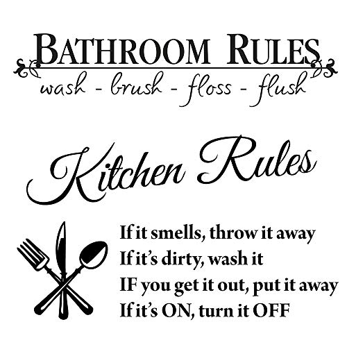 LZYMSZ 6 x 23in Bathroom Decor Rules Wash Brush Floss Flush Stickers and 14 x 24in Kitchen Rules Letters Wall Art Decals, 2 Set Black Vinyl DIY Inspirational Saying Peel and Stick Wallpaper Quote