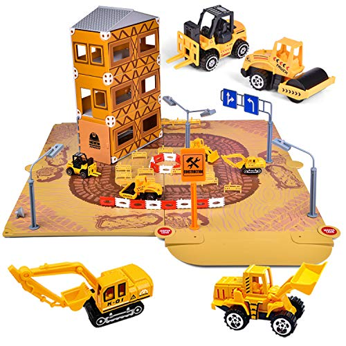 FUN LITTLE TOYS 122 Pcs Construction Building Kit, Kids Engineering Playset with 4 Pack Vehicles for Kids Gifts
