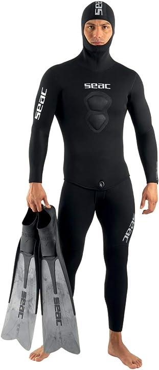 muta sub - seac royal, muta in neoprene da 5 mm per apnea e pesca subacquea, salopette e giacca con cappuccio 0010239250040a