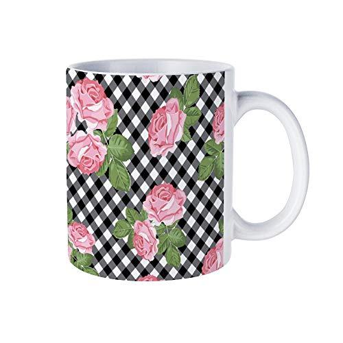wendana Lustige weiße Kaffeetasse mit Rosen-Muster auf schwarz-weißem Gingham-Kaffeebecher, Weihnachtstasse, Keramik, Teetasse, 325 ml, für Damen, Herren, Mutter, Papa