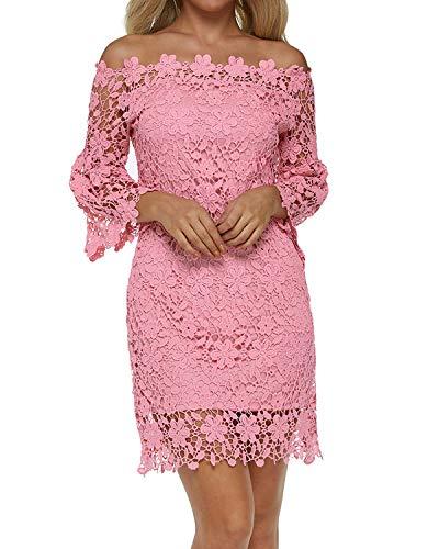 Auxo Damen Schulterfreie Langarm Kleider mit Spitze Elegant Blumen Kurz Abend Etuikleid Rosa EU 38/Etikettgröße M