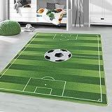 Livone - Alfombra infantil (140 x 200 cm), diseño de fútbol, color verde