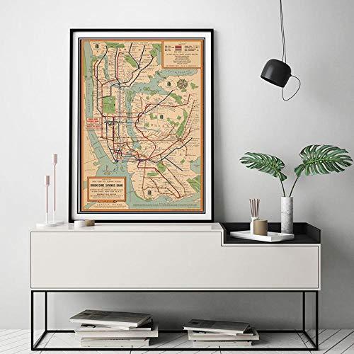 Terilizi afbeelding vintage poster muurkunst metro kaarten canvas schilderij New York stad affiches en prints stijl wandschilderijen voor woonkamer 50 x 70 cm geen lijst