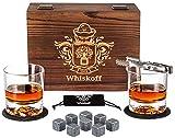 Juego de Copas de Cristal Roca - Caja de Regalo con Rocas de Enfriamiento para Whisky - Juego de Copas Scotch - Juego de Piedras de Whisky de Bourbon - Regalo Ideal de Bourbon para los Hombres