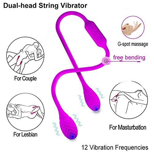 HUI.HUI Vibromasseur à cordes double tête Stimulateur clitoridien G-spot Masseur à plug anal