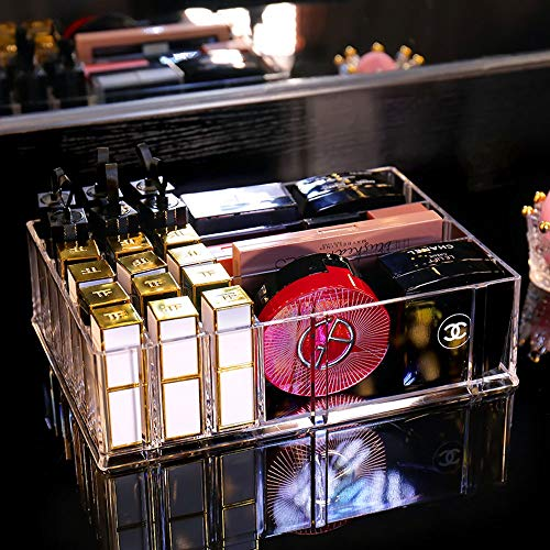 QAZX Qualitäts-Plastik kosmetischer Speicher Lippenstift Organizer - Dekor 24 Slot Veranstalter for Make-up Parfüm Brush Pens Bleistift Lipgloss und andere Beauty-Zubehör for Vanity oder Aufsatz-